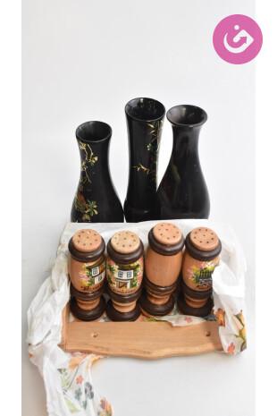 Bytový doplnok - Vázy a solničky, farba vzorovaná, veľkosť