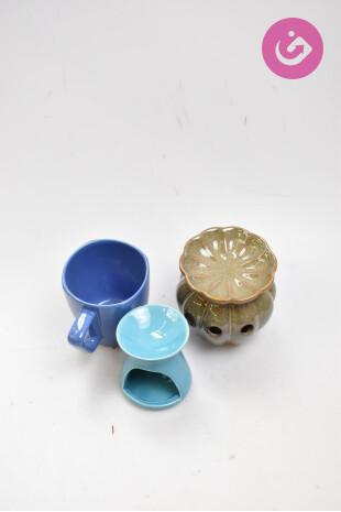 Bytový doplnok - lucerničky a hrneček, farba vícebarevná, veľkosť