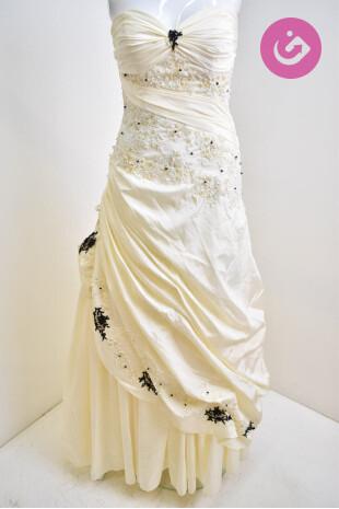 Dámské svatební šaty, barva béžová, velikost S