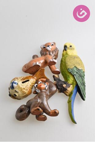 Bytový doplněk - Keramická zvířata, barva vícebarevná, velikost